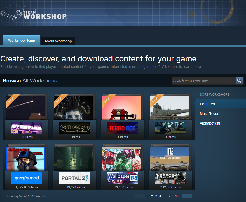 Shows steam workshop home page